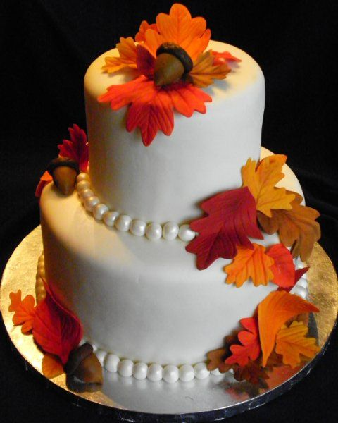 Two Tier Fall Wedding Cake