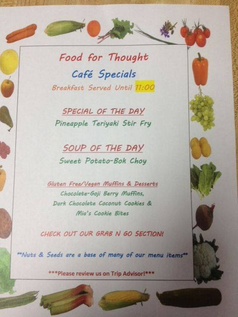 Sample of our Daily Special Menu