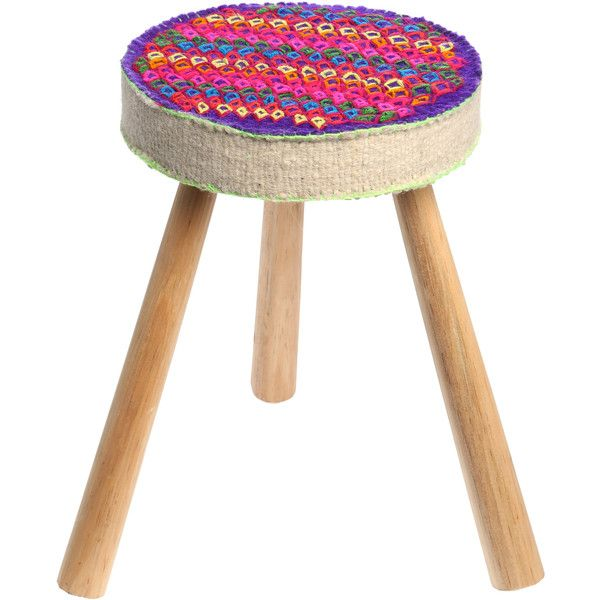 ELEVEN DESIGN STUDIO Sol Seat Kite Stool (255 CAD) ❤ liked on Polyvore featuring home, furniture, stools, neon pnk, woven stool, colored stools, neon furniture, hand made furniture and colored furniture