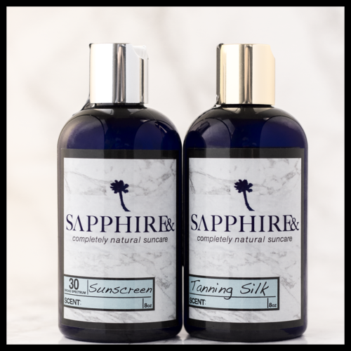 Finally an all natural sunscreen! I've been looking for one and this one is amazing! It smells amazing And the best part is it's all Natural! Natural suncare. Sapphire& Sunscreen and Tanning Silk