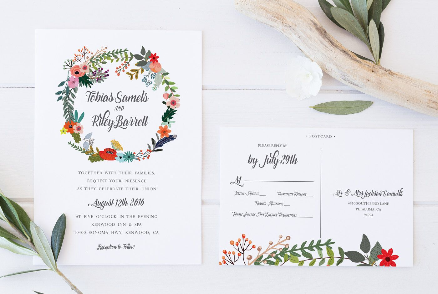 Printable Wedding Invitation, DIY Wedding Invitation Kit, Wreath ...