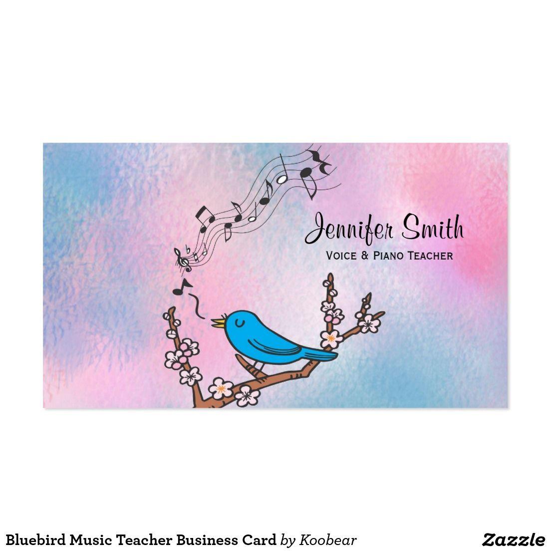 Bluebird Music Teacher Business Card | Teacher business cards ...