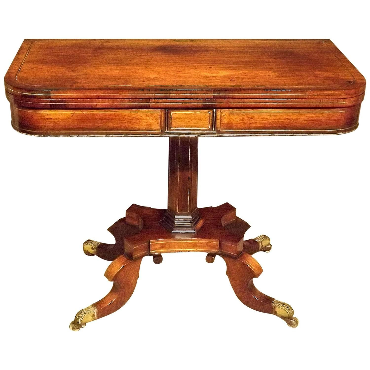 Regency Rosewood And Brass Inlaid Card Table From A Unique