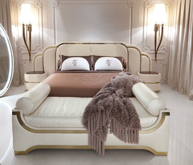 8 Luxury Bedrooms In Detail: Pastel Master Bedroom Decor With Golden Details And