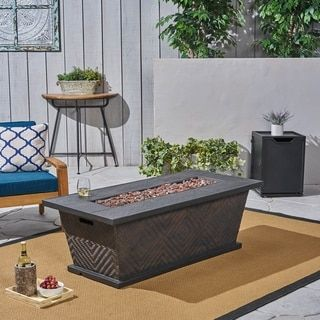 Meyer Outdoor 56 50 000 Btu Rectangular Light Weight Concrete Fire Pit By Christopher Knight Home Brow Fire Pit Materials Outdoor Fire Pit Fire Pit