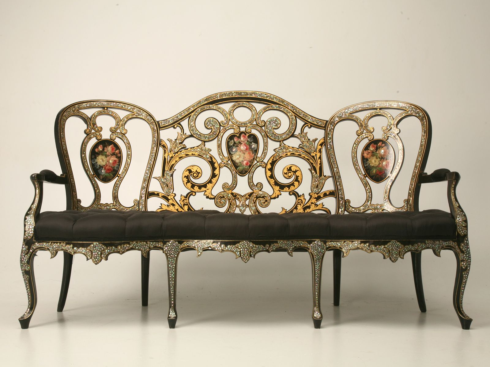 French Napoleon III ebonized canapé with mother of pearl inlay and ...