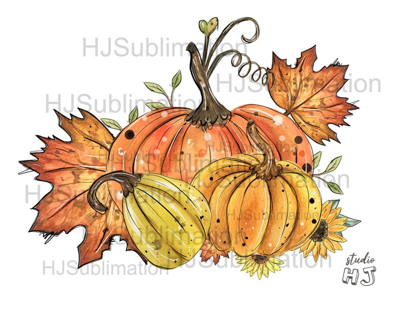 Pumpkin Sunflower Png Watercolor Pumpkin Patch Sublimation Etsy Sublime Pumpkin Patch Painting
