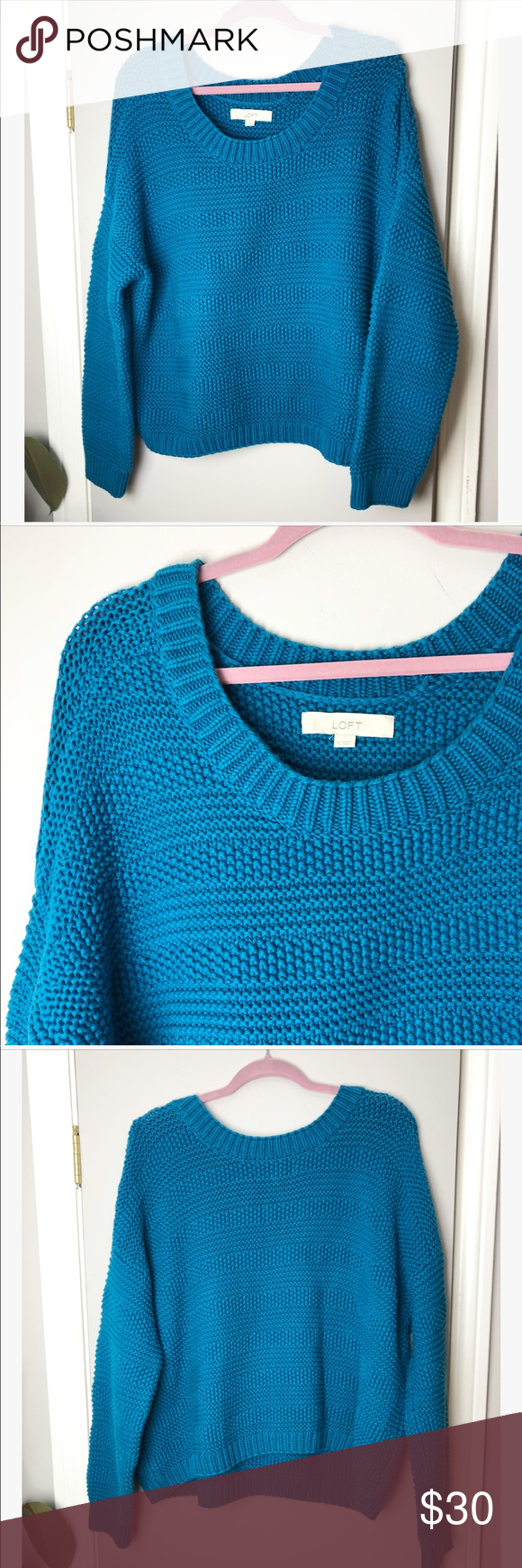 1ba3ce6f89 Loft blue chunky knit oversized pullover sweater Loft bright blue chunky  knit scoop neck oversized pullover