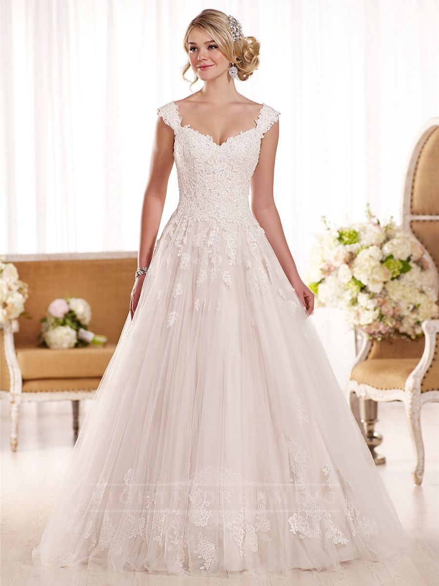 Cap Sleeves A-line Lace Wedding Dress | Great Discount Wedding ...