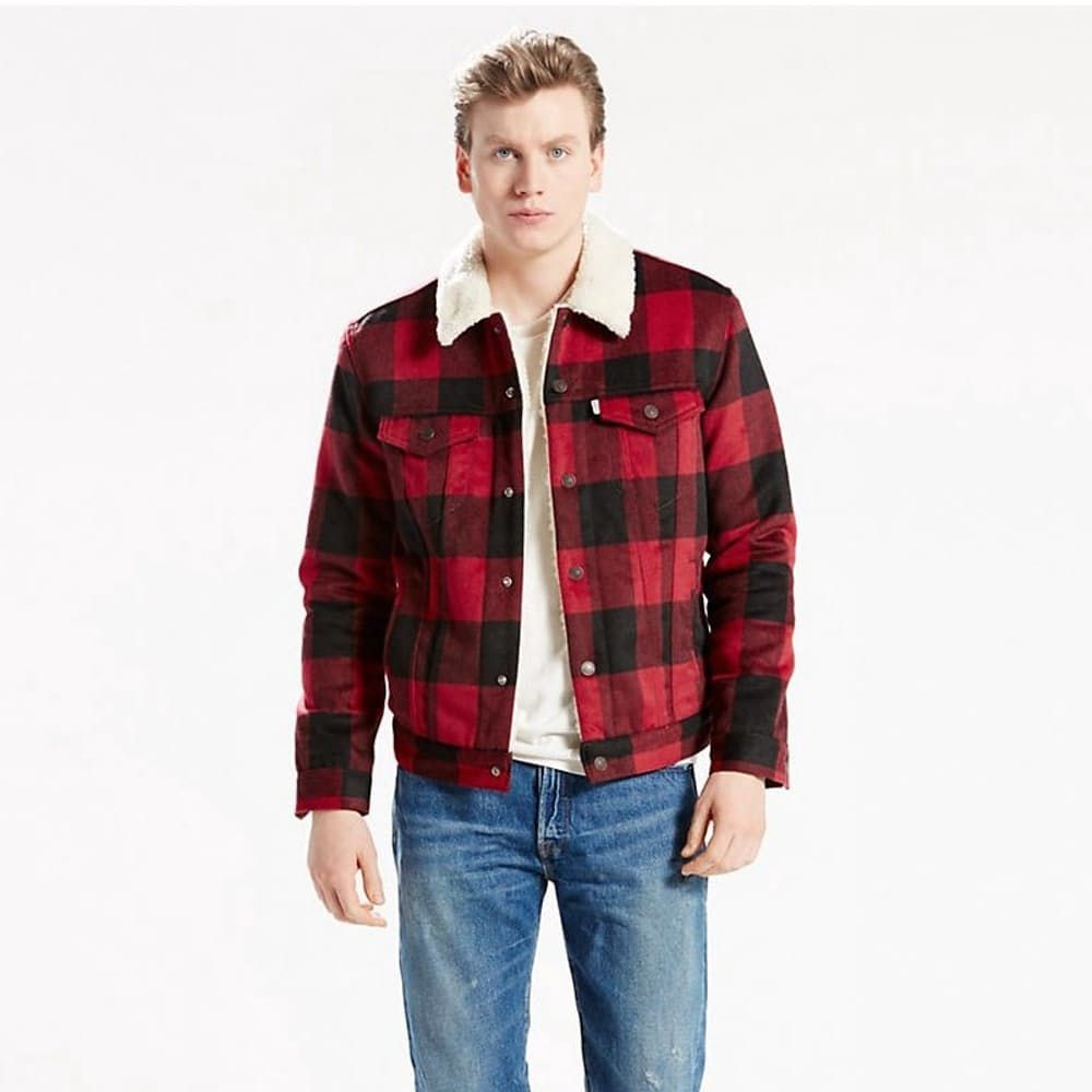 THE SHERPA TRUCKER JACKET - RED PLAID   LEVI   Men s Hair and Style ... ae8f2aebb9b5