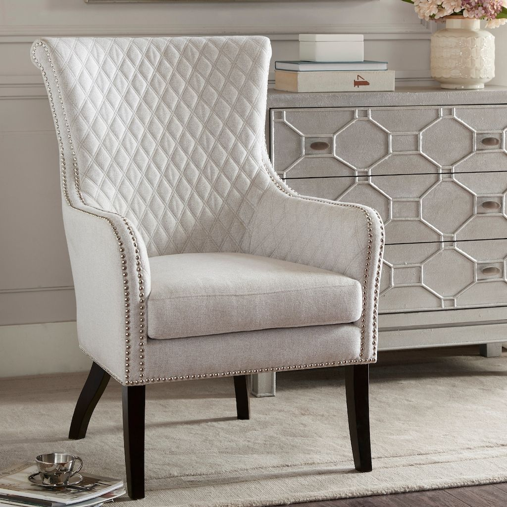 Madison Park Lea Tufted Accent Chair Natural Tufted