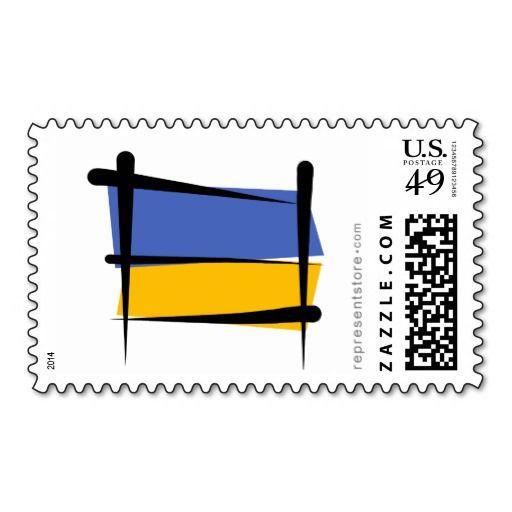 Ukraine Brush Flag Stamp  #ukrainian #ukrainiangifts #Gifts http://www.zazzle.com/ctek101*