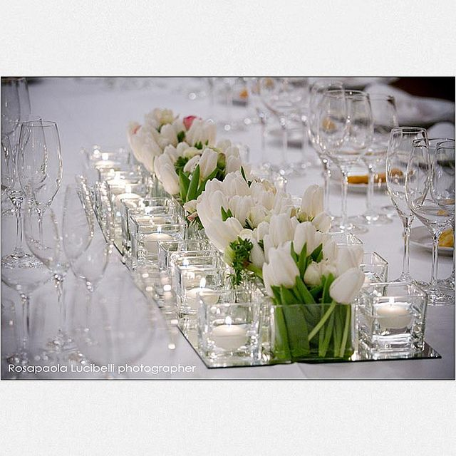 Modern white low centerpiece centerpieces and