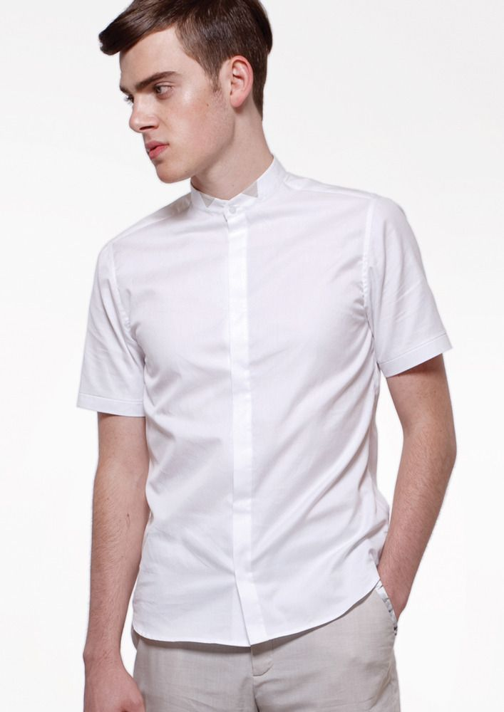 Image of Slim Fit Mens Button Up Shirt (short sleeves) - White ...
