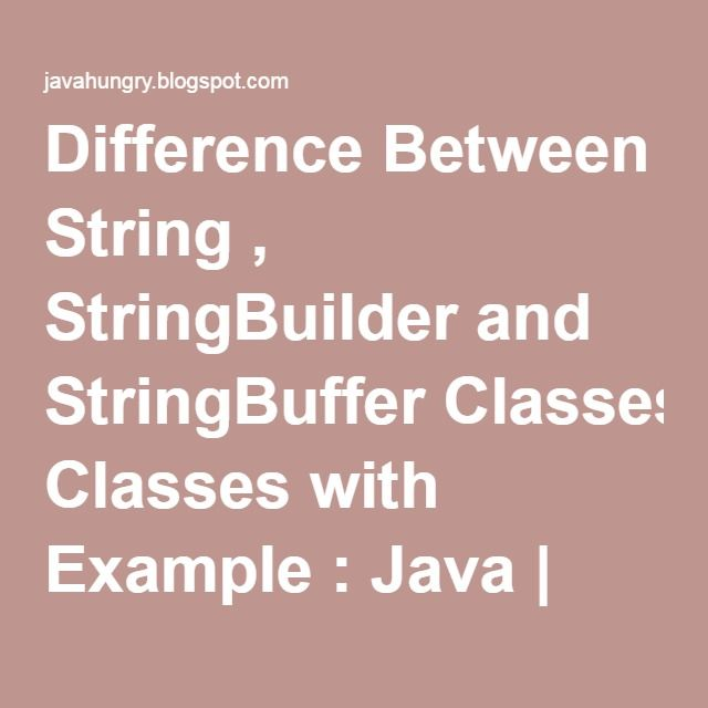 Difference Between String , StringBuilder and StringBuffer Classes ...