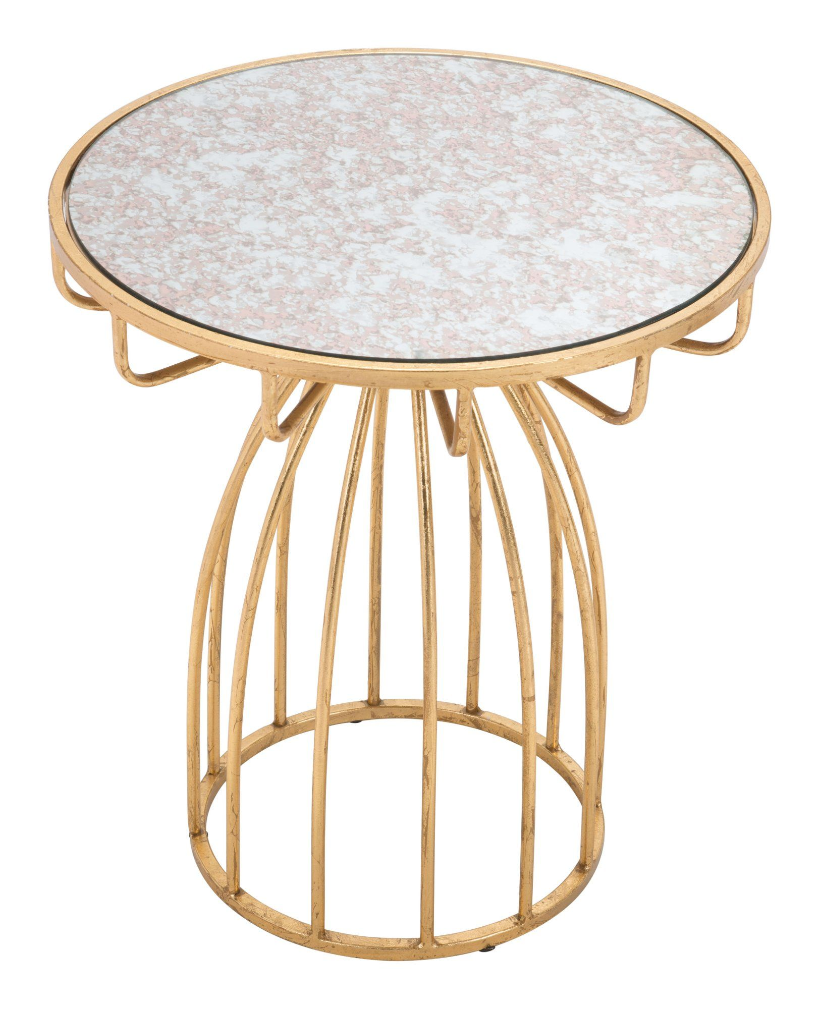 Glam Round End Table Silo In 2021 Accent Side Table Side Table Mirror Table [ 2000 x 1623 Pixel ]
