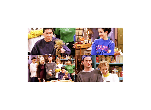 Ross: The Geller Cup…  Chandler: Is everybody else seeing a troll doll nailed to a 2 by 4?  All: Yeah.  Chandler: Okay, good.