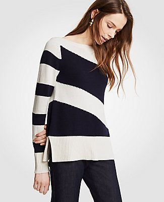 High Contrast Striped Sweater Sweaters Tunic Tops