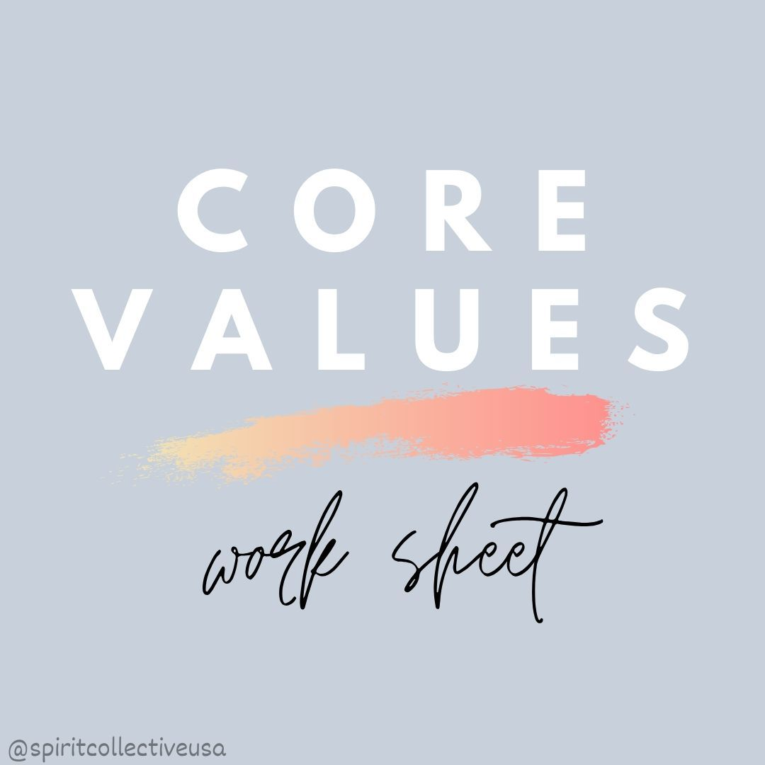 Core Values Worksheet In