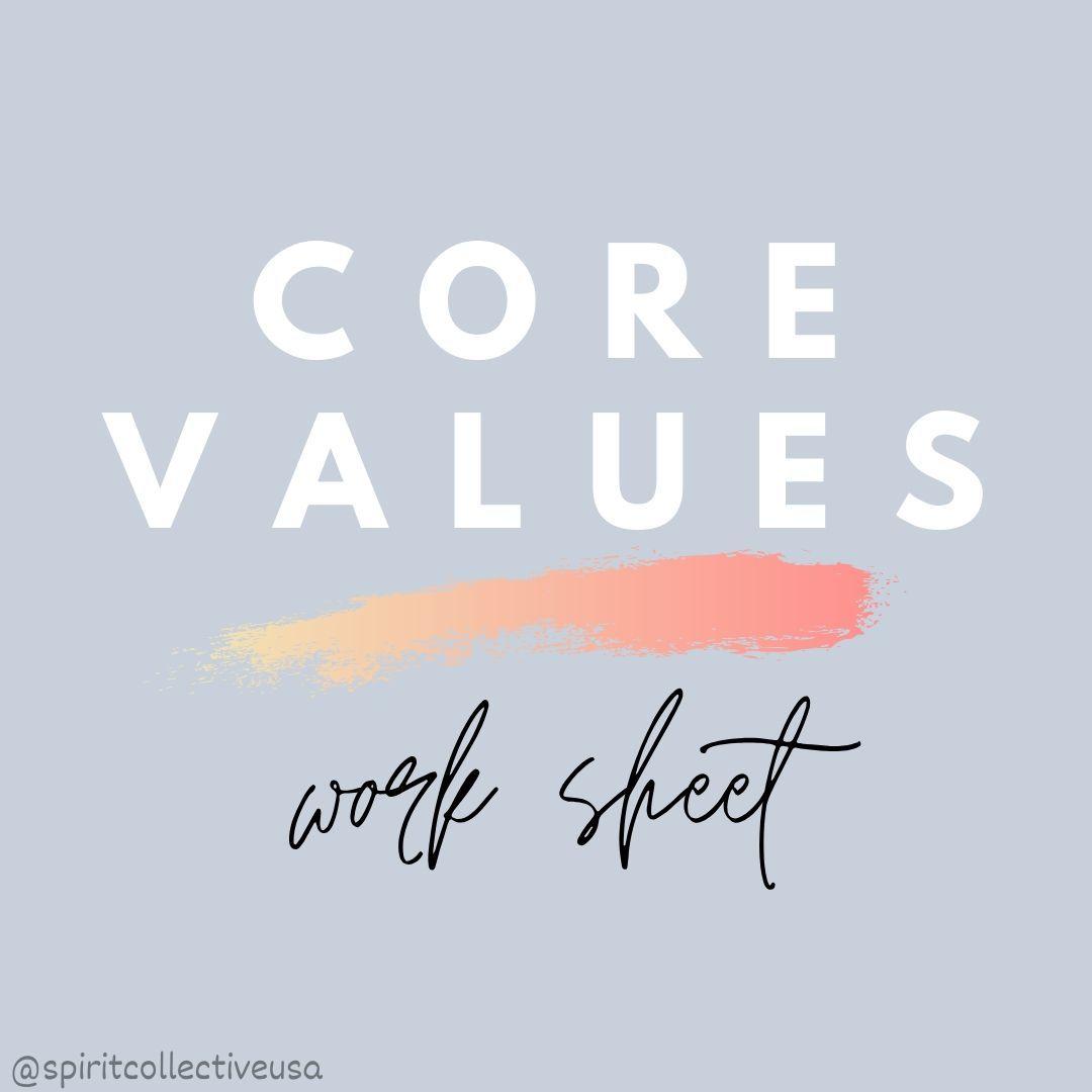 Core Values Worksheet In