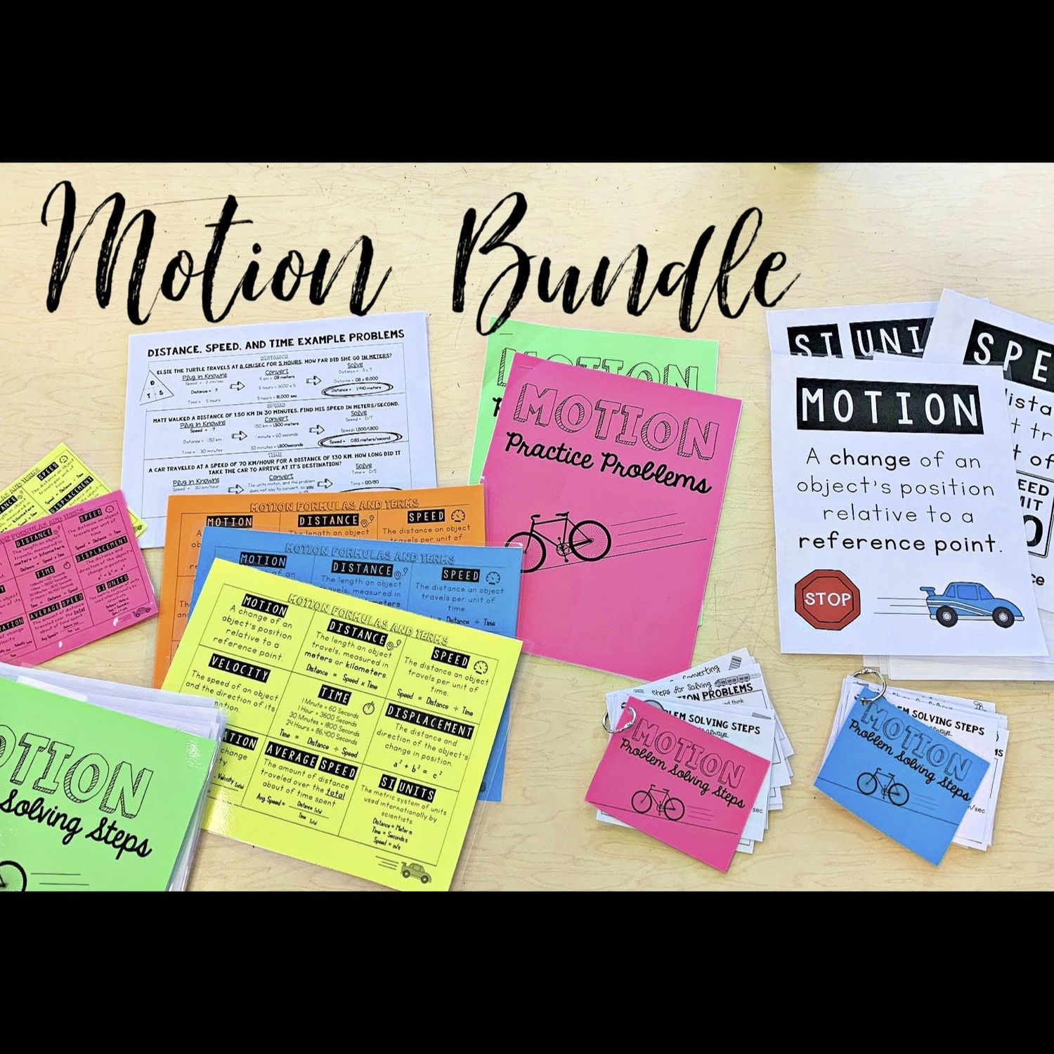 Motion Bundle Differentiated Worksheets Vocab Posters