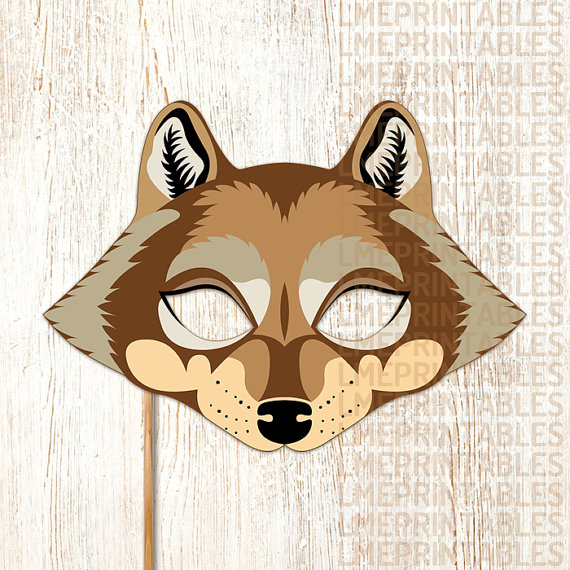 graphic relating to Printable Wolf Mask Template for Kids named Wolf Mask Printable Brown Animal Masks Huge Undesirable Wolf