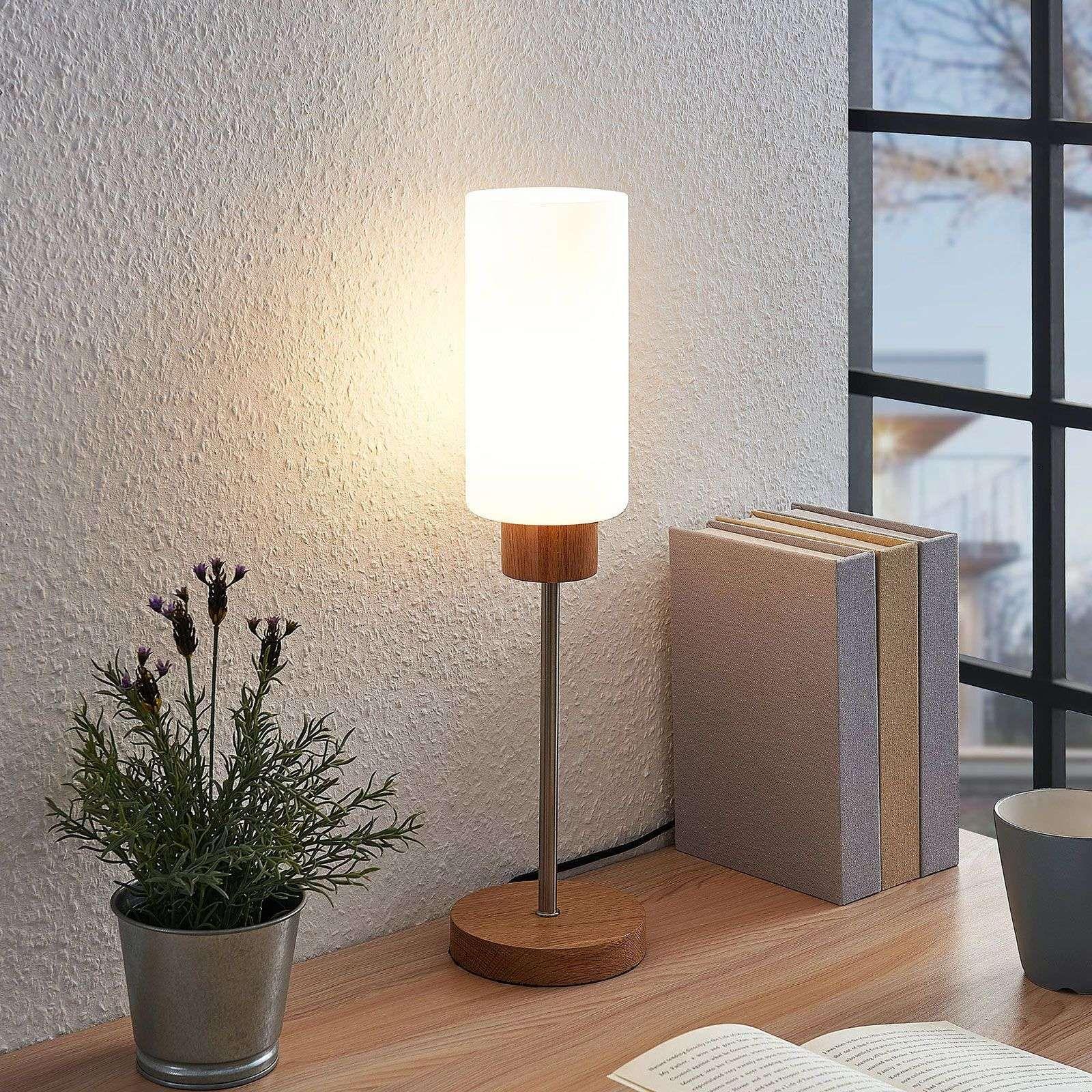 Lindby Nicus lampada da tavolo, legno e vetro