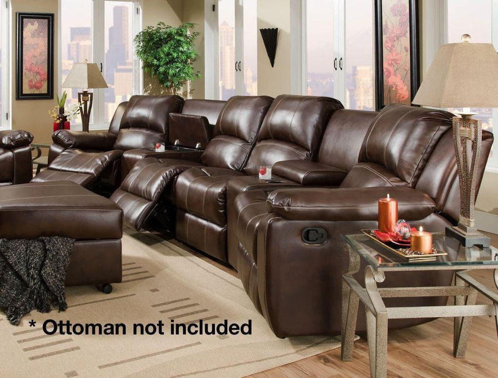 Corinthian 98201 Jamestown Umber Reclining Theatre Sectional