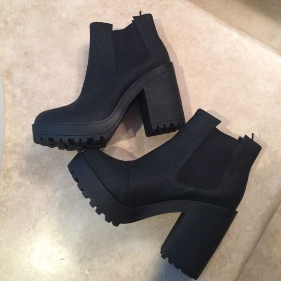 5d6d485643 Black H&M platform booties Size 8.5. Never worn and in perfect condition!  **no trades**