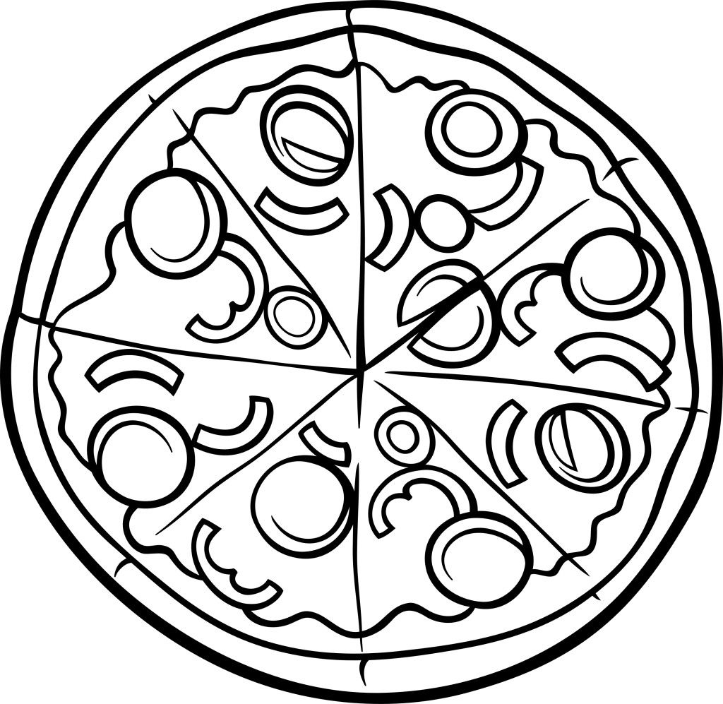 Coloring pages for restaurants - Pizza Colouring Page To Help Them Learn Math And Fractions