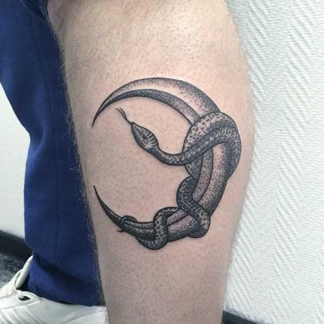 Snake Wrapped Around Thigh Tattoo: Snake Wrapped Around The Moon