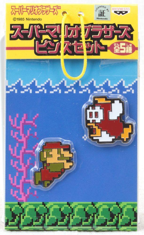 Super Mario Bros. Dot Character Pins Set Mario Sea JAPAN NES FAMICOM NINTENDO