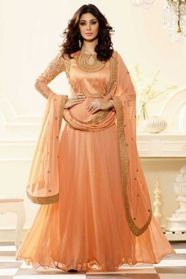 Peach Georgette Anarkali Churidar Suit With Dupatta - DMV14841 ...