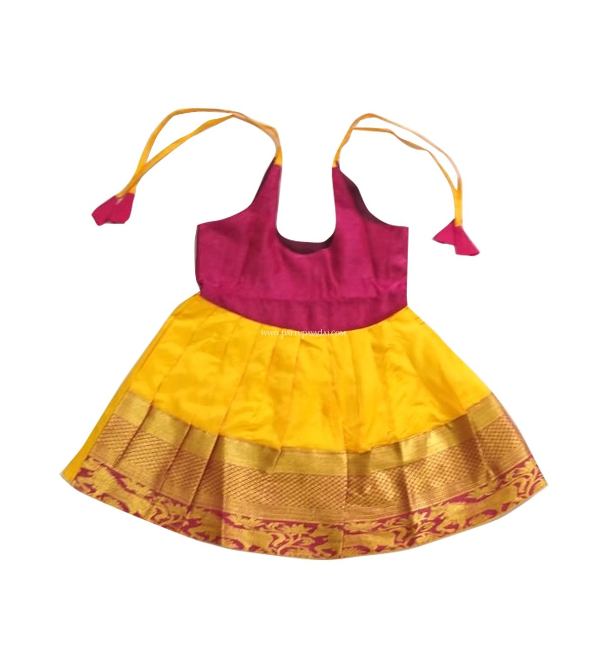 22790d64a20b Elegant readymade traditional yellow and maroon pure silk frock for newborn  3 months baby girl.