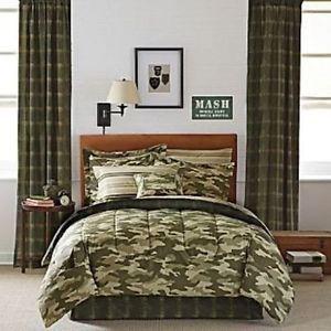 Green Camouflage Camo Army Boys Twin Comforter Set 6 Piece