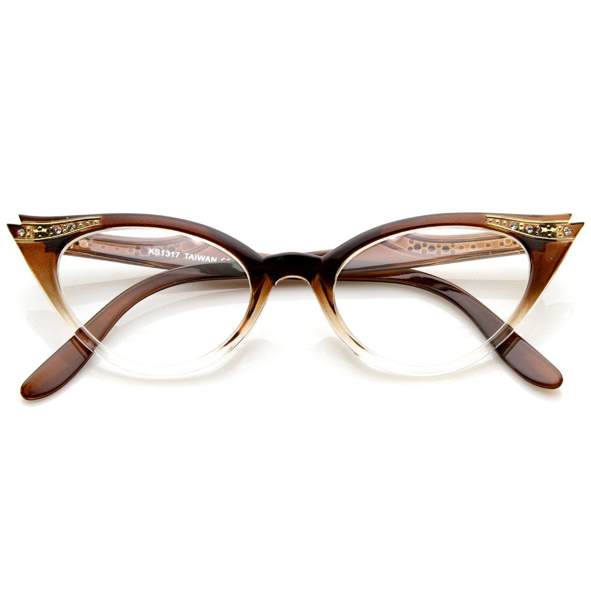 eac14be524 Vintage Style Cateyes 80s Inspired Fashion Clear Lens Cat Eye Glasses With  Rhinestones Color-brown