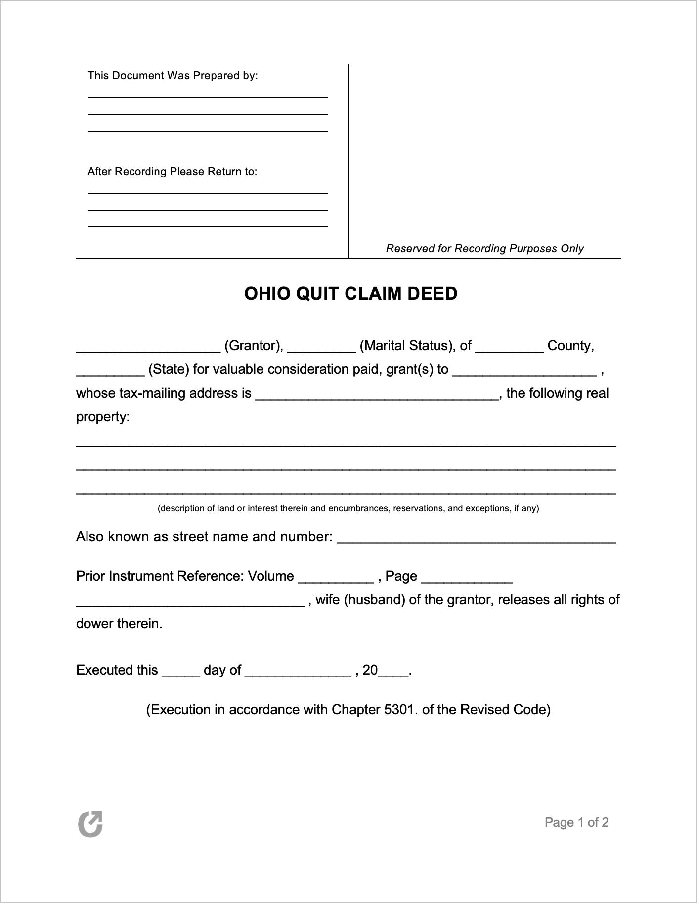 Ohio Quit Claim Deed Form Quites Marital Status Ohio