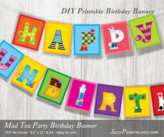 Printable Banner Alice In Wonderland Party. Happy