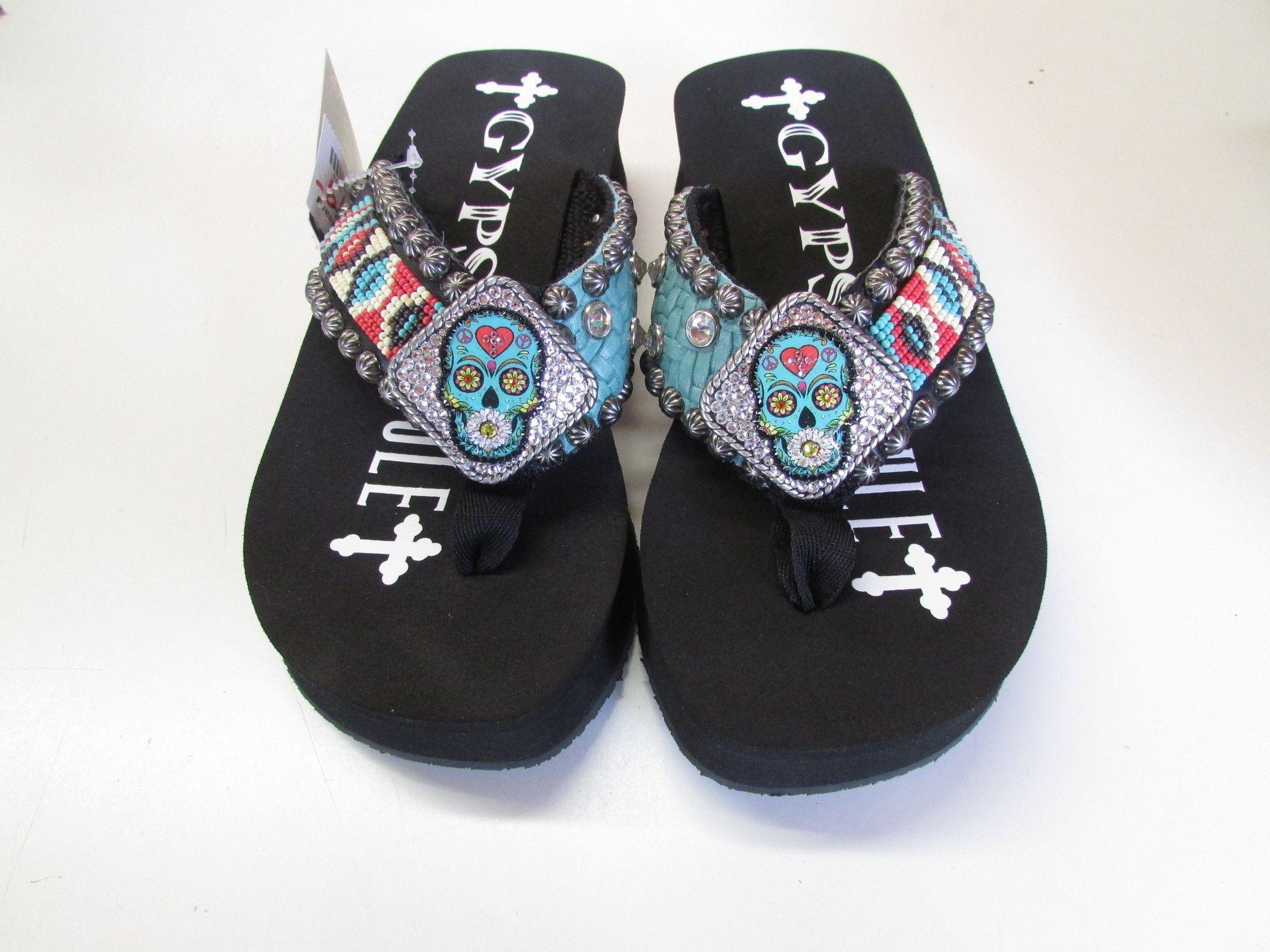 63c23523df9414 Gypsy Soule Women s Black SugarSweet Wedge Flip Flop