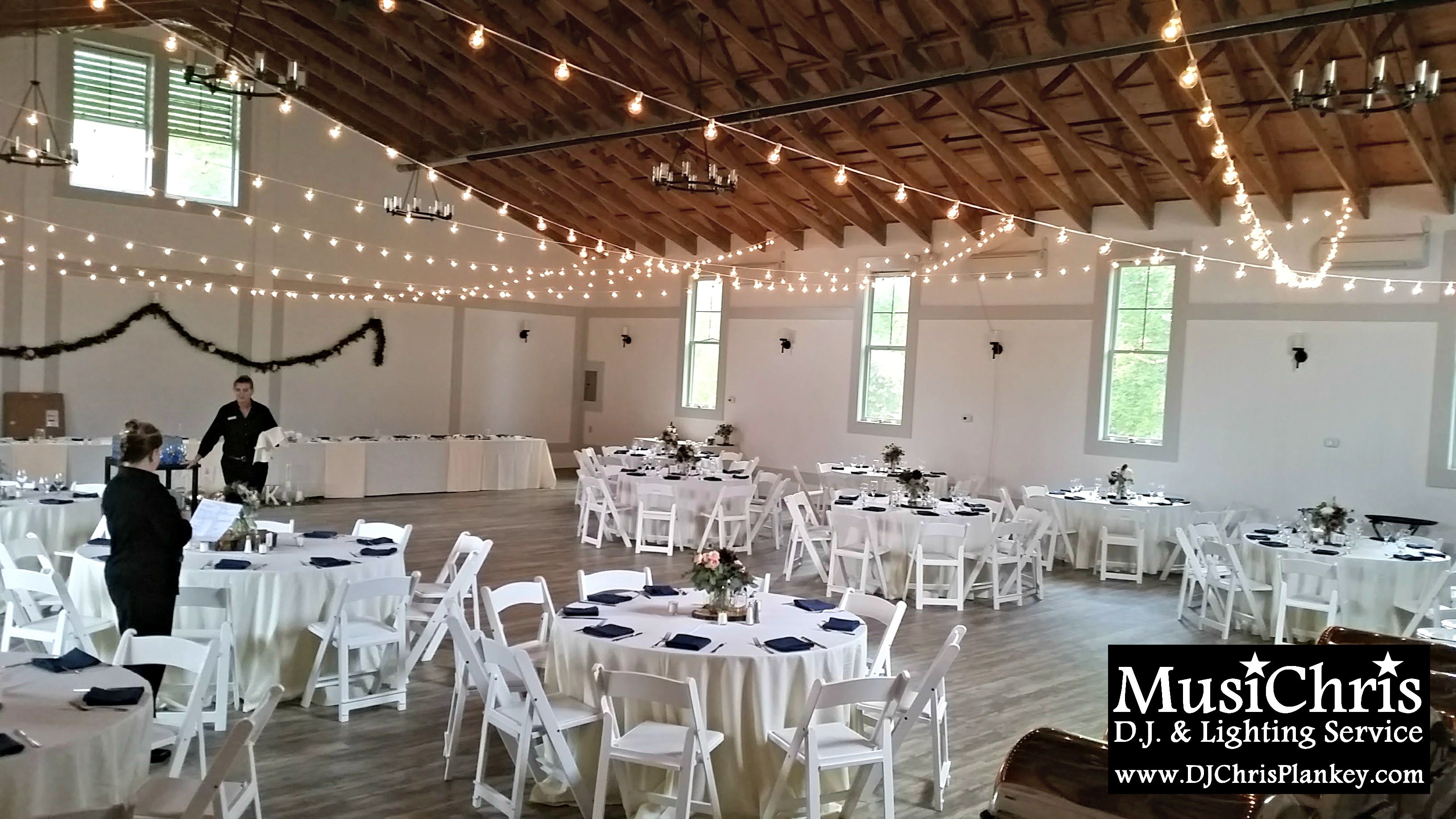 Barn wedding with fairy lights  String lighting in the newly renovated Harvest Barn at Cranwell Spa