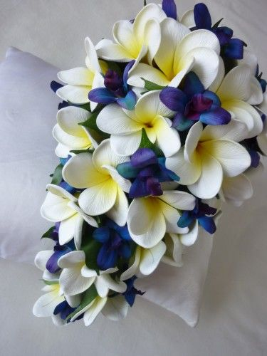 Blue Star Teardrop This Is What I Want A Blue Orchid And Plumeria Bouquet Blue Orchid Bouquet Pink Orchids Bouquet Artificial Wedding Bouquets