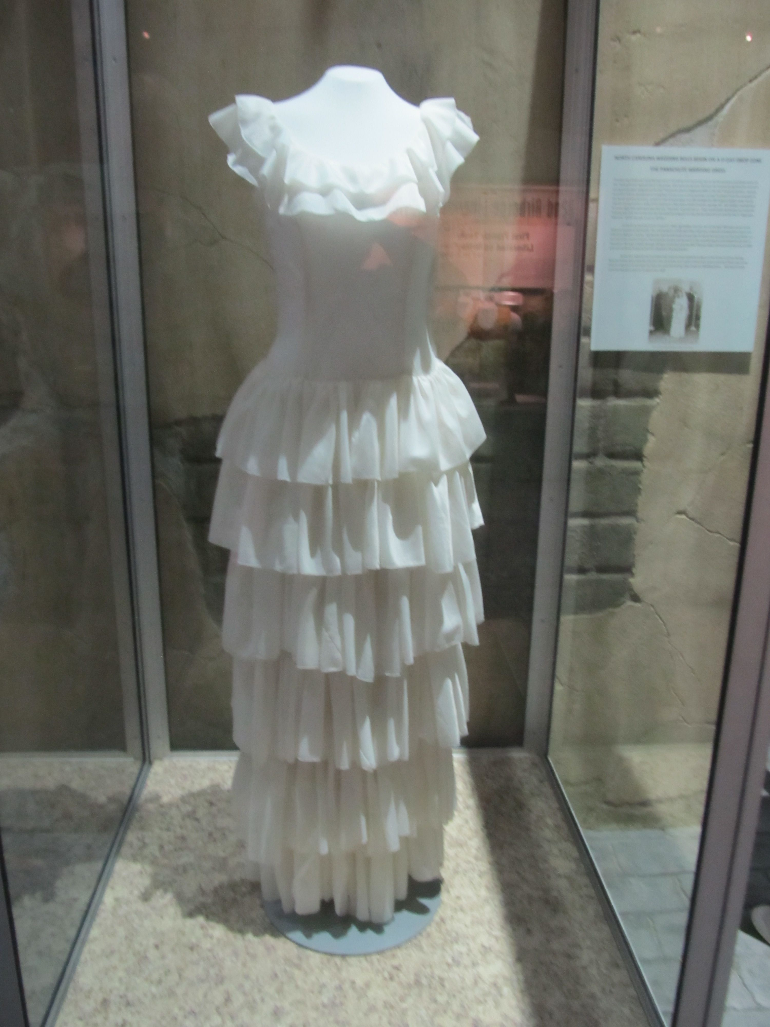 Dress made from a used parachute on display at Airborne and Special Operations Museum in Fayetteville, NC.