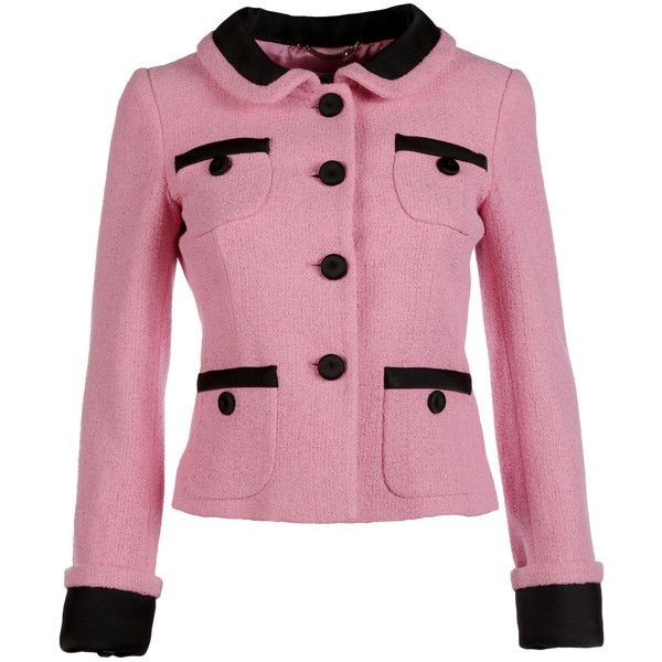 Moschino Blazers (€980) ❤ liked on Polyvore featuring outerwear, jackets, blazers, pink, blazer jacket, tweed blazer, moschino blazer, pink blazer jacket and long sleeve blazer