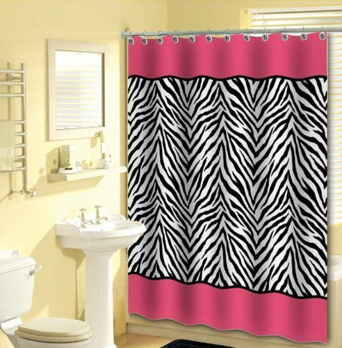 13pc Pink Zebra Shower Curtain Black White With 12 Animal Print