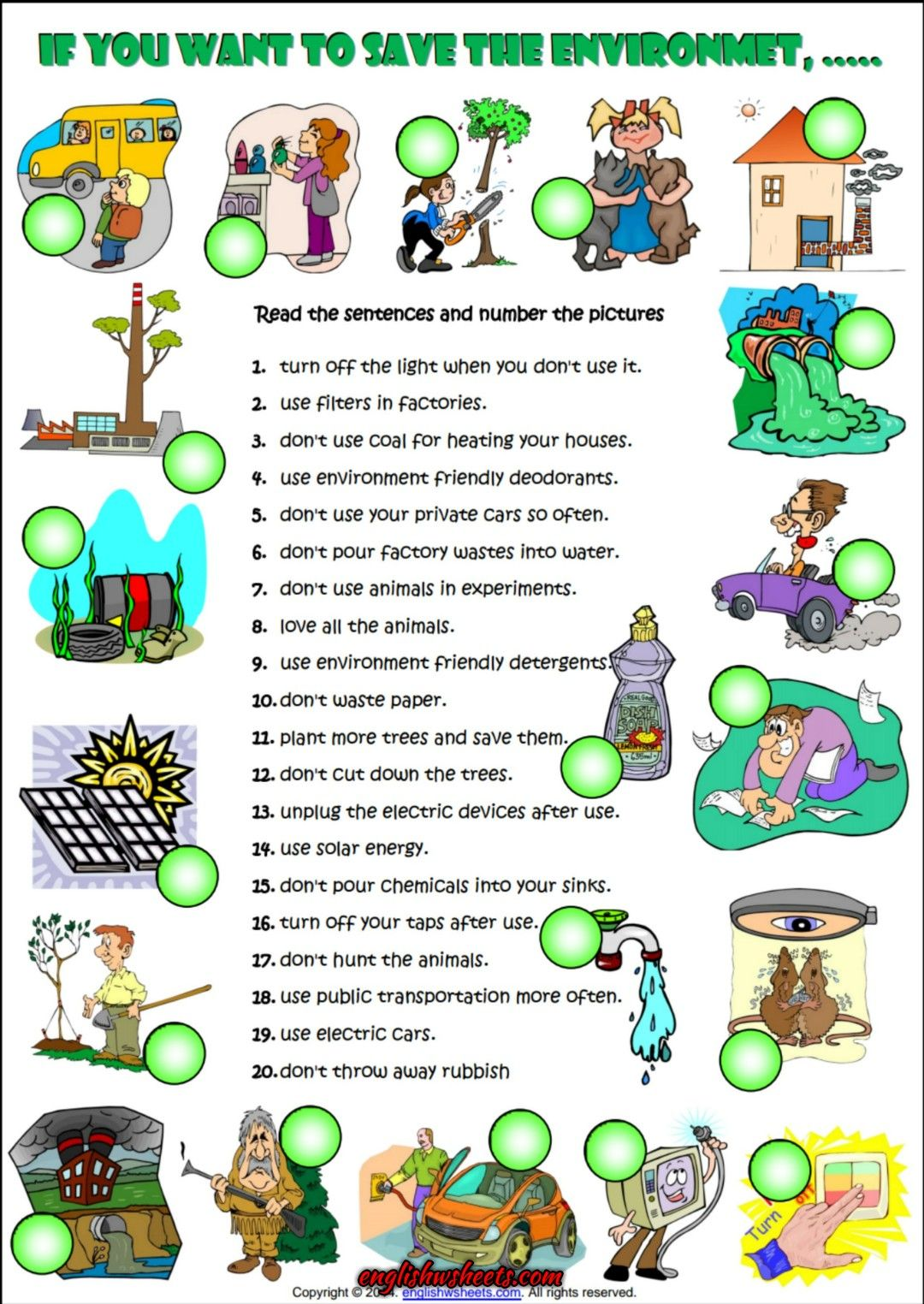 Imperative Sentences About Environment Esl Worksheet With