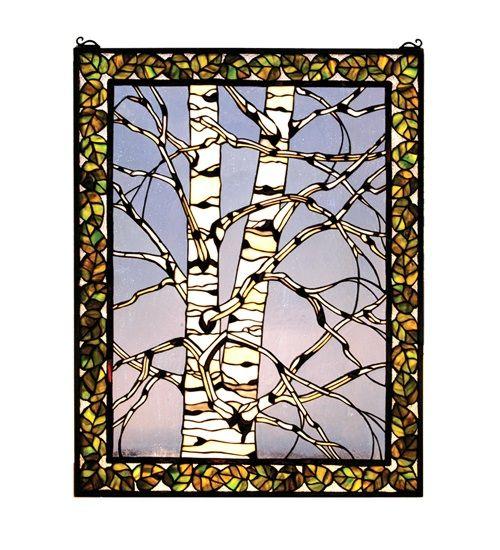Birch Tree In Winter Left Stained Glass Window