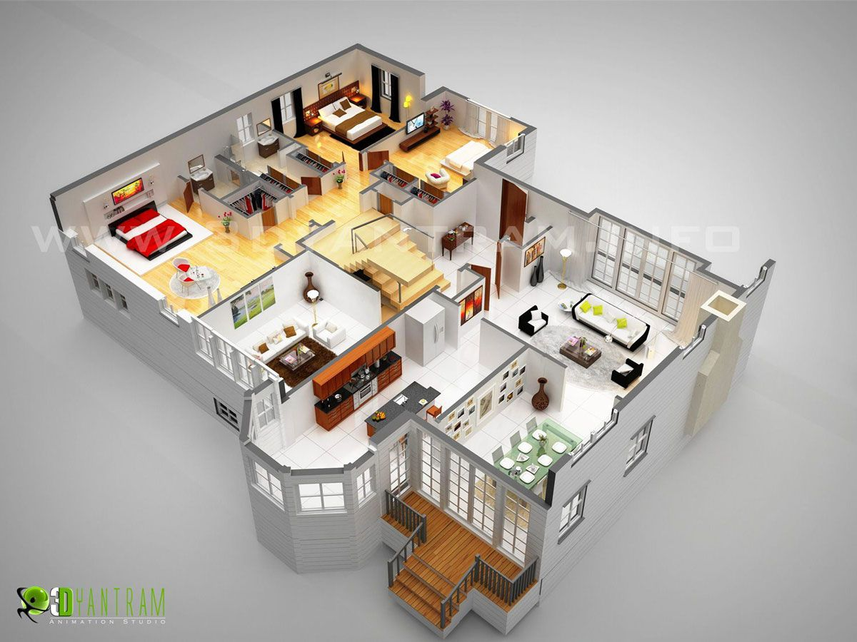 Grundriss villa 3d  3D #Luxurious #Floor Plan #Design #Ideas of #house with well ...