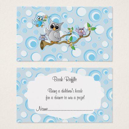 Cute blue baby owls baby shower book raffle business card flowers cute blue baby owls baby shower book raffle business card flowers floral flower design unique colourmoves