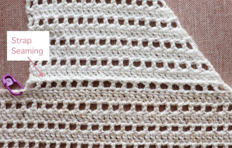 Detail of the front strap seaming in the crochet beach dress #crochetbeachdress
