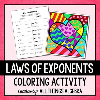 Exponent Rules Laws Of Exponents Coloring Activity Math
